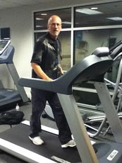 Fred Waters Reviewing a treadmill at Precor Fitness